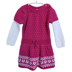 LILLY WICKET Pink & White Knit Heart Dress 2T
